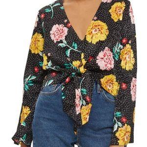 Topshop Floral Dot Jacquard Top